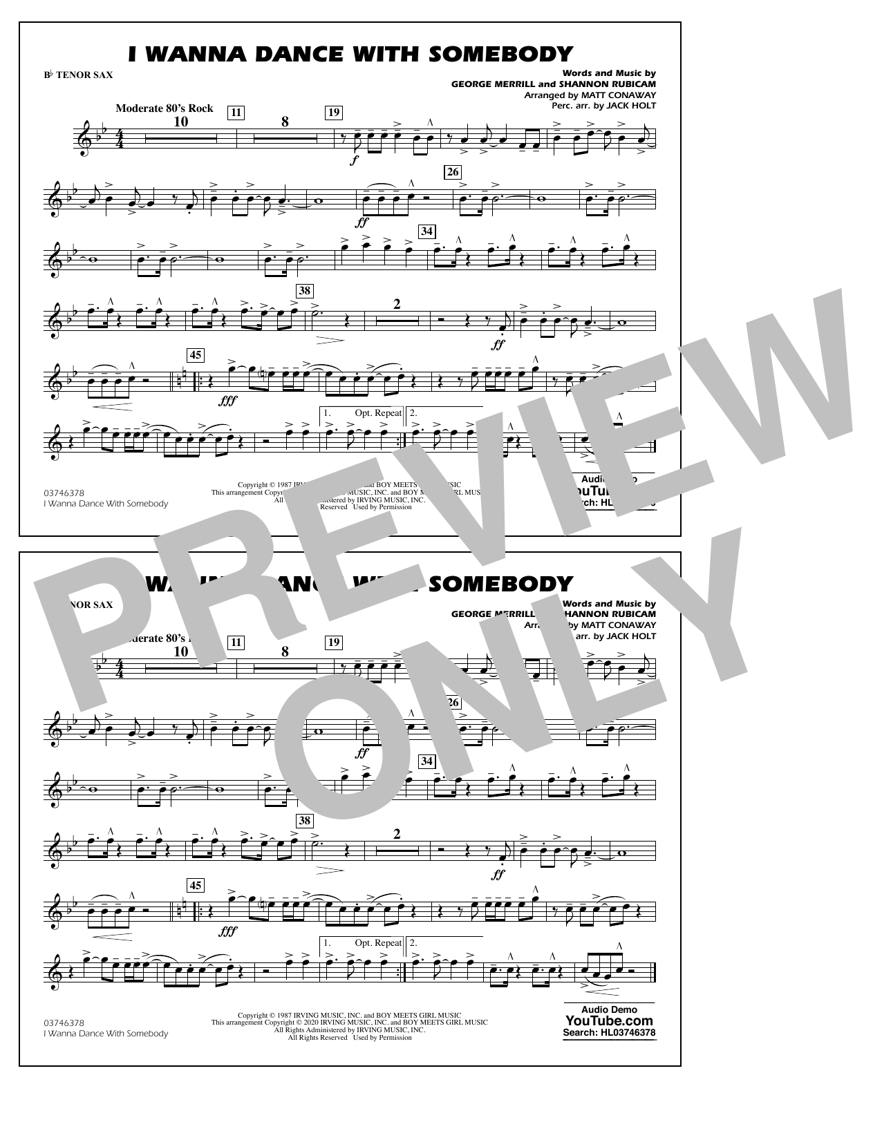 Whitney Houston I Wanna Dance with Somebody (arr. Conaway and Holt) - Bb Tenor Sax sheet music notes and chords. Download Printable PDF.