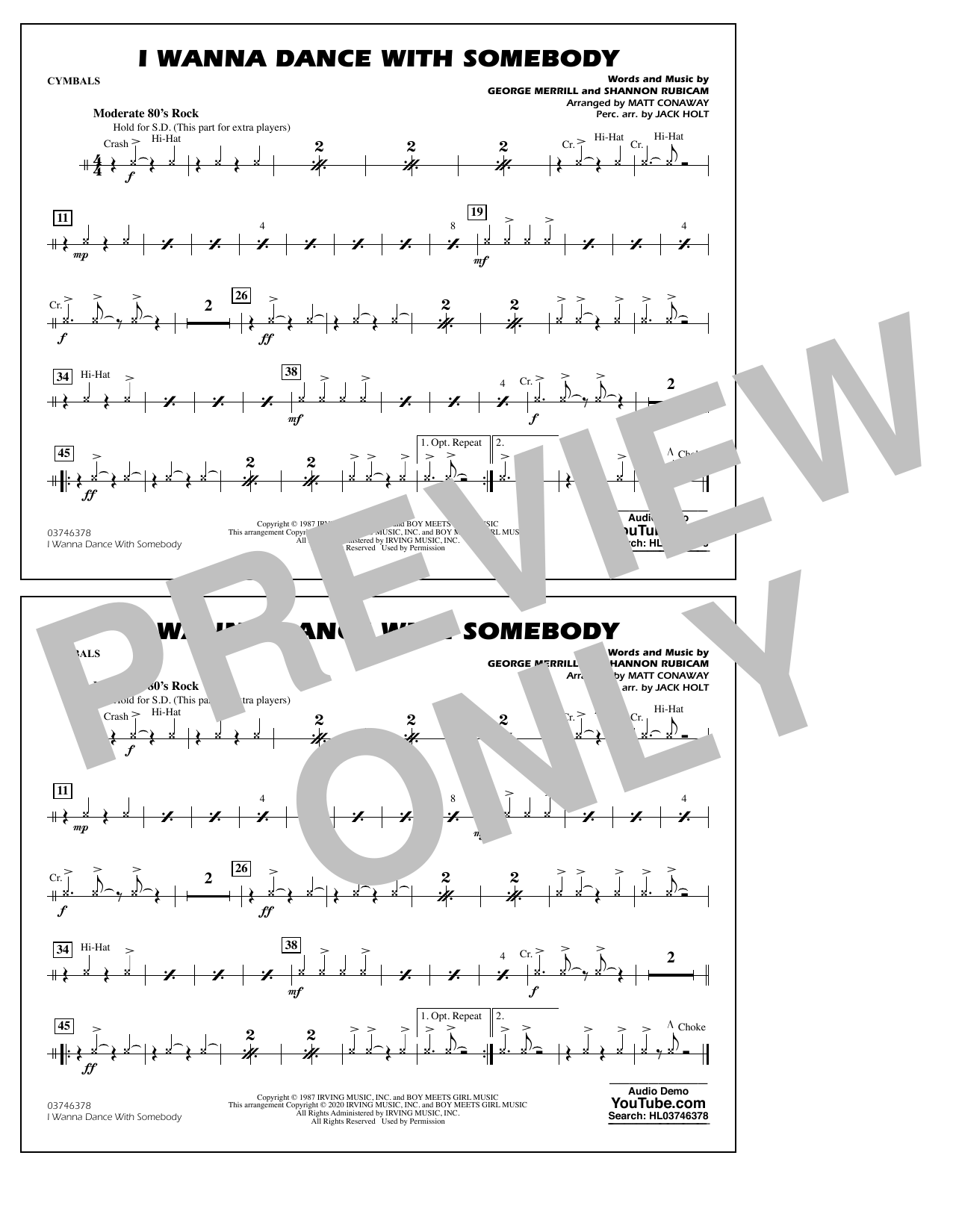 Whitney Houston I Wanna Dance with Somebody (arr. Conaway and Holt) - Cymbals sheet music notes and chords. Download Printable PDF.
