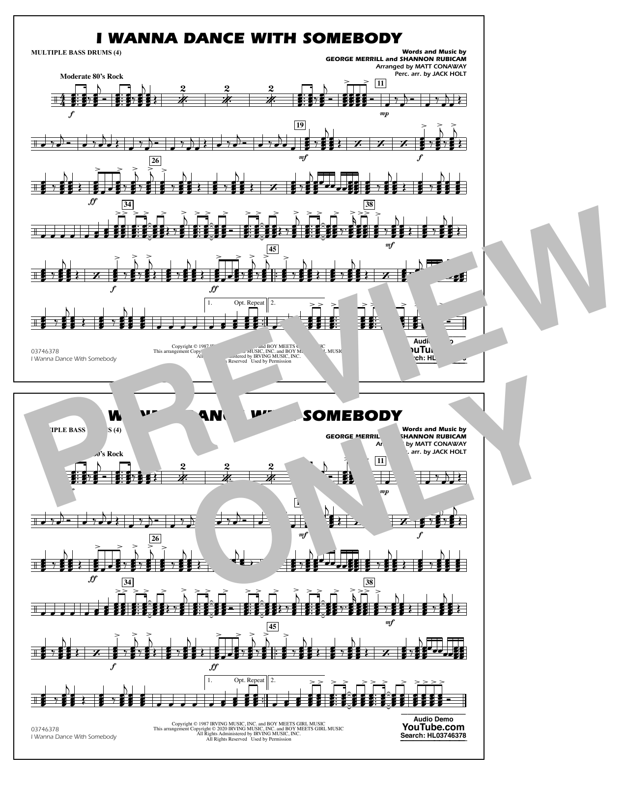 Whitney Houston I Wanna Dance with Somebody (arr. Conaway and Holt) - Multiple Bass Drums sheet music notes and chords. Download Printable PDF.