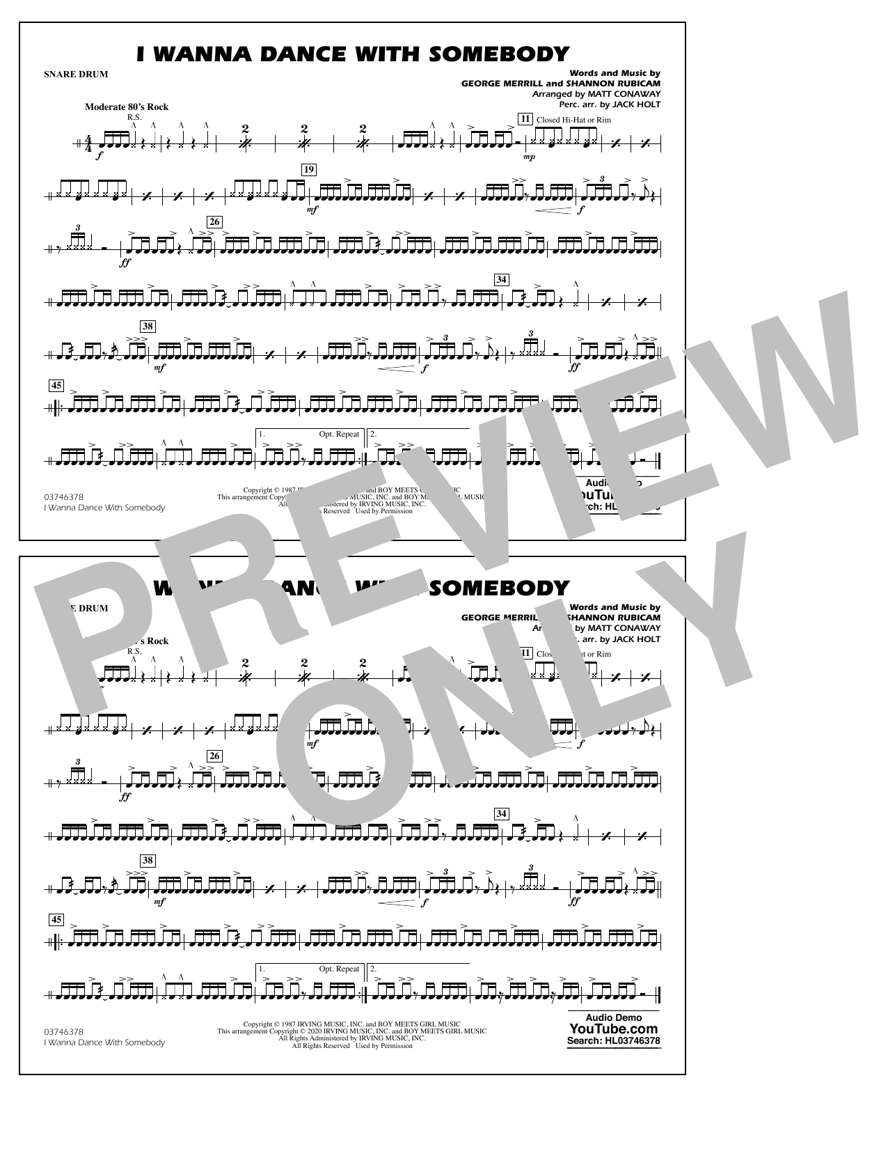 Whitney Houston I Wanna Dance with Somebody (arr. Conaway and Holt) - Snare Drum sheet music notes and chords. Download Printable PDF.