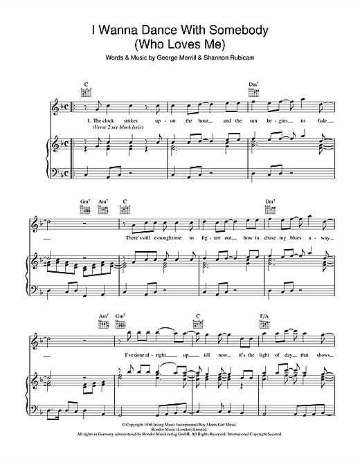 Whitney Houston I Wanna Dance With Somebody (Who Loves Me) sheet music notes and chords