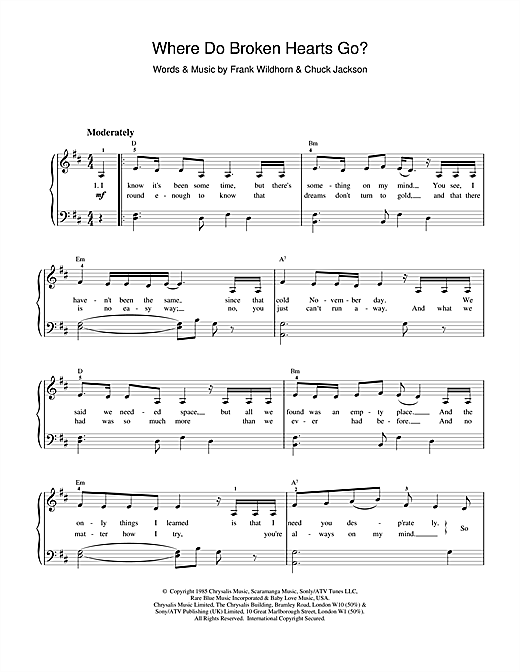 Whitney Houston Where Do Broken Hearts Go? sheet music notes and chords. Download Printable PDF.