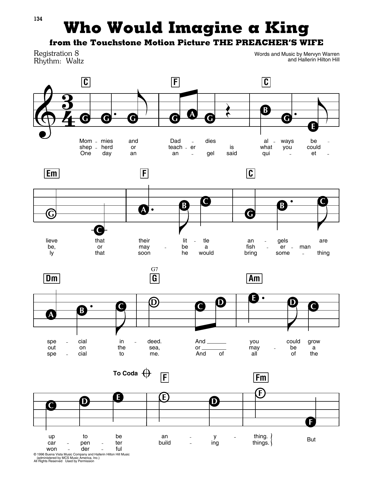 Whitney Houston Who Would Imagine A King (from The Preacher's Wife) sheet music notes and chords. Download Printable PDF.