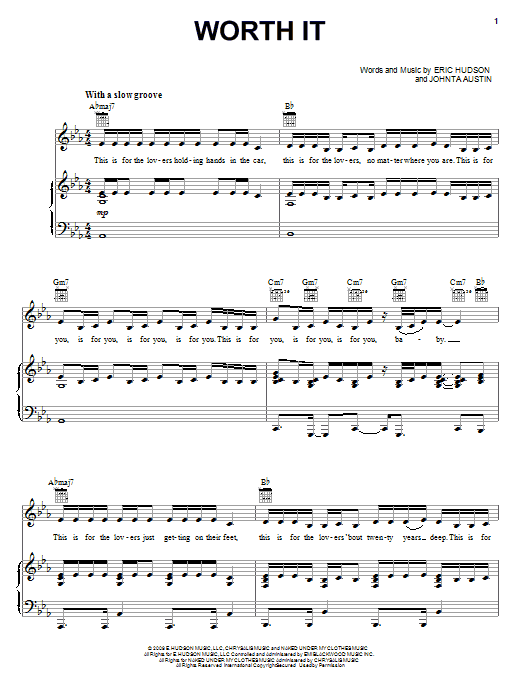 Whitney Houston Worth It sheet music notes and chords. Download Printable PDF.