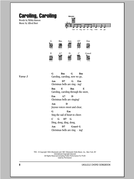 Wihla Hutson Caroling, Caroling sheet music notes and chords. Download Printable PDF.