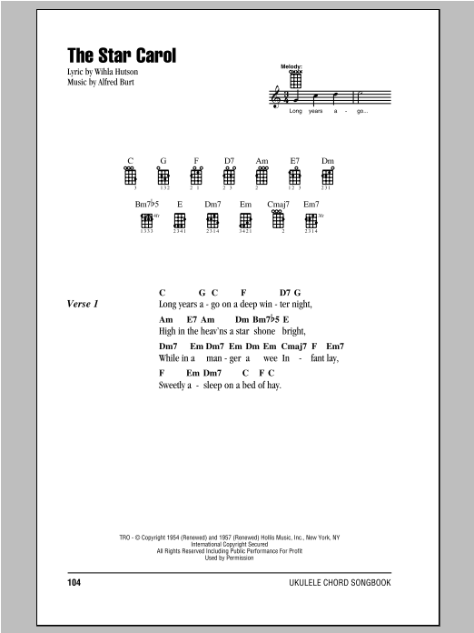 Wihla Hutson The Star Carol sheet music notes and chords. Download Printable PDF.