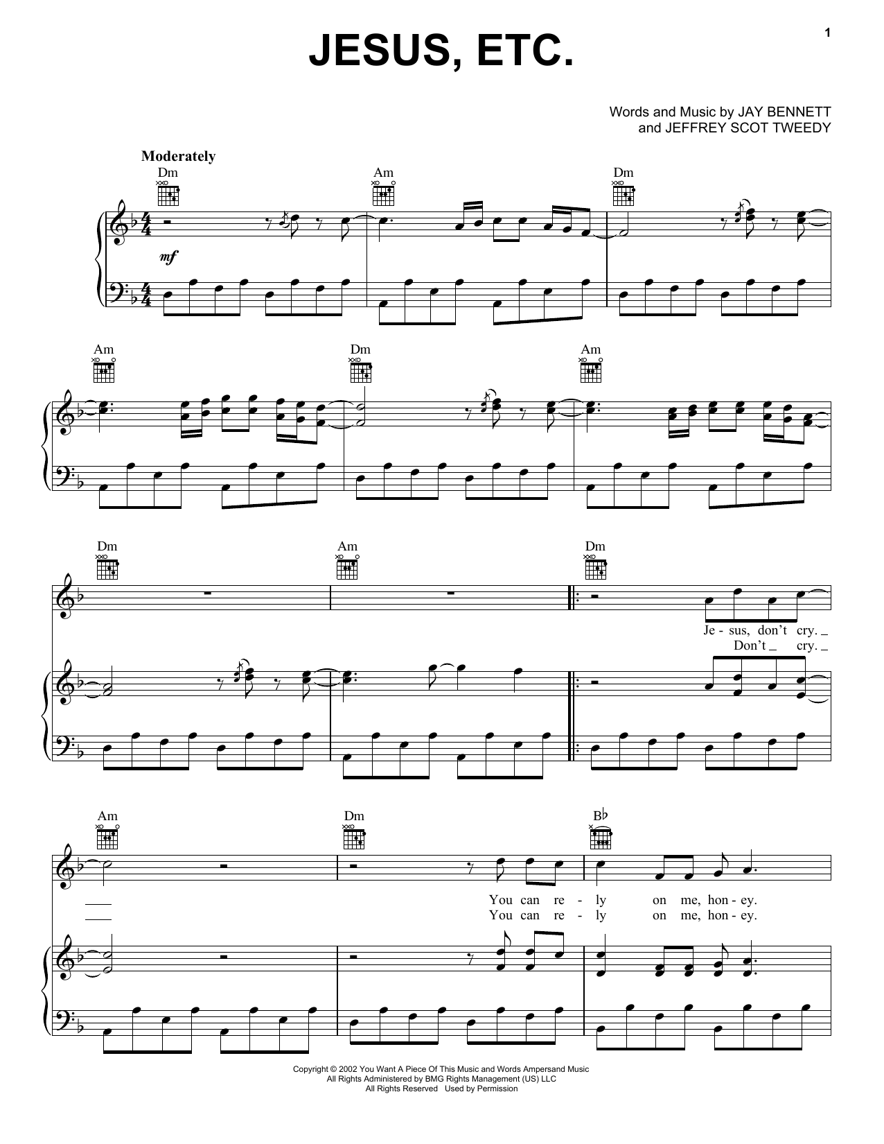 Wilco Jesus, Etc... sheet music notes and chords. Download Printable PDF.