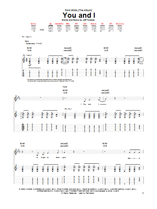 Wilco You And I sheet music notes and chords. Download Printable PDF.