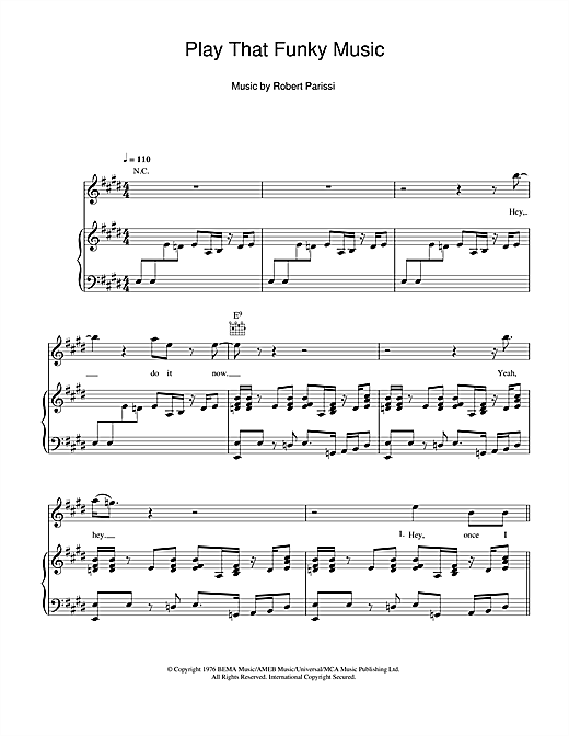 Wild Cherry Play That Funky Music sheet music notes and chords. Download Printable PDF.