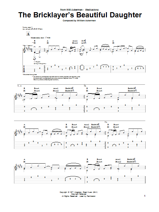 Will Ackerman The Bricklayer's Beautiful Daughter sheet music notes and chords. Download Printable PDF.