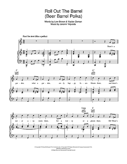 Will Glahe Beer Barrel Polka (Roll Out The Barrel) sheet music notes and chords. Download Printable PDF.