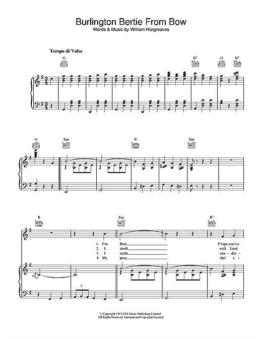 Will Hargreaves Burlington Bertie From Bow sheet music notes and chords. Download Printable PDF.