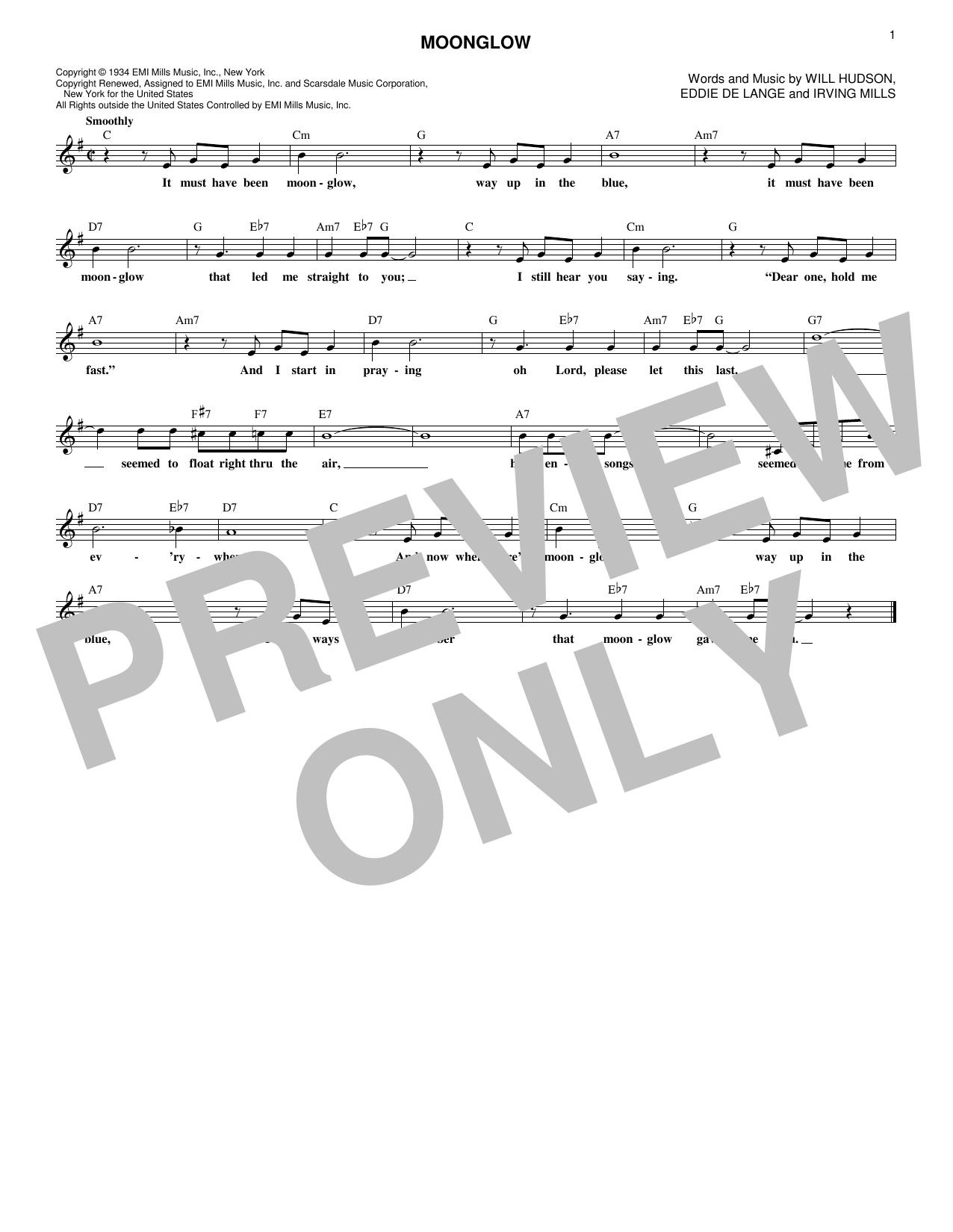 Will Hudson, Eddie DeLange and Irving Mills Moonglow sheet music notes and chords. Download Printable PDF.