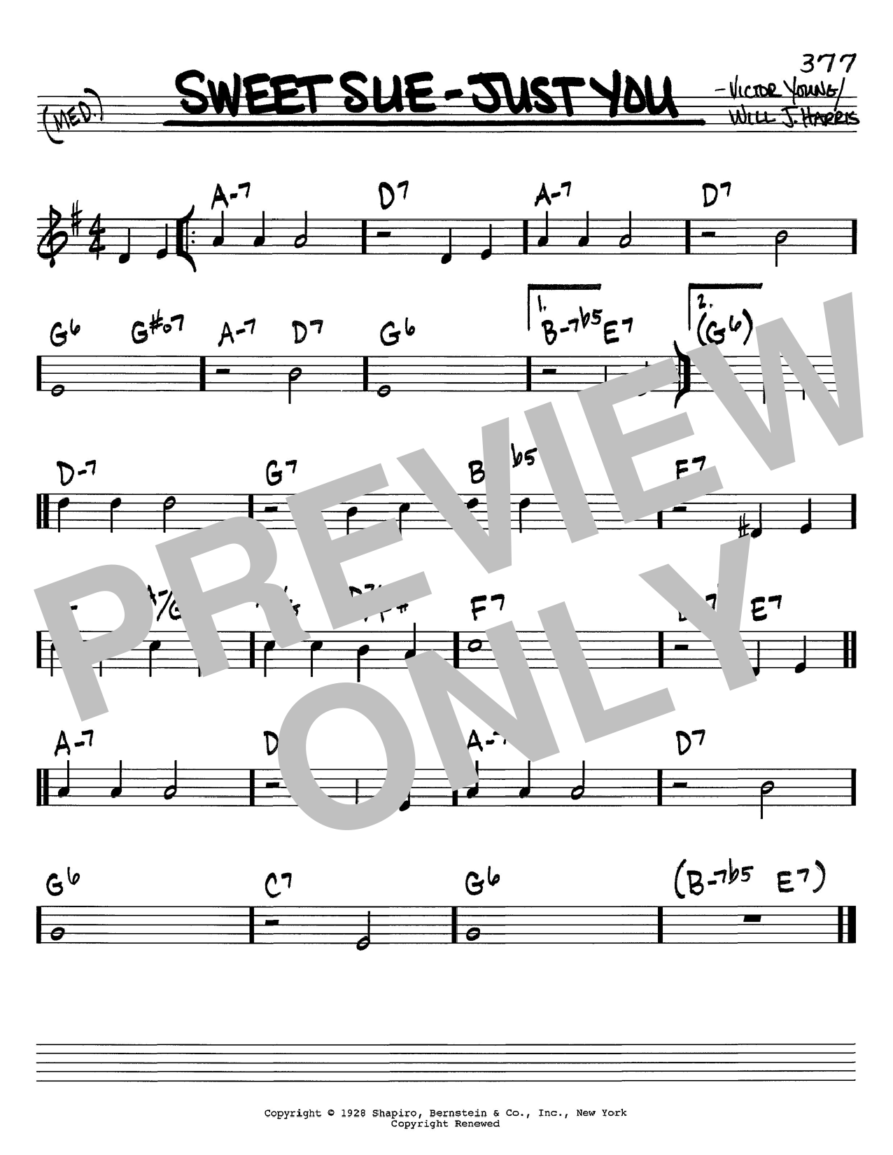Will J. Harris Sweet Sue-Just You sheet music notes and chords. Download Printable PDF.