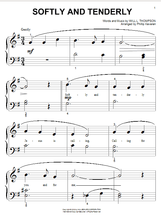 Will L. Thompson Softly And Tenderly sheet music notes and chords. Download Printable PDF.