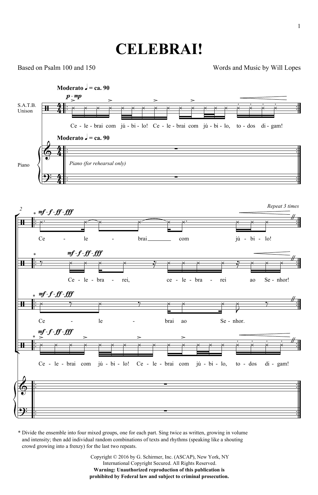 Will Lopes Celebrai sheet music notes and chords. Download Printable PDF.