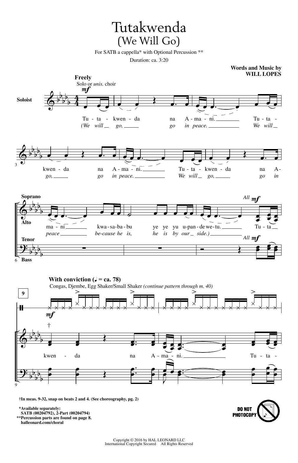 Will Lopes Tutakwenda (We Will Go) sheet music notes and chords. Download Printable PDF.