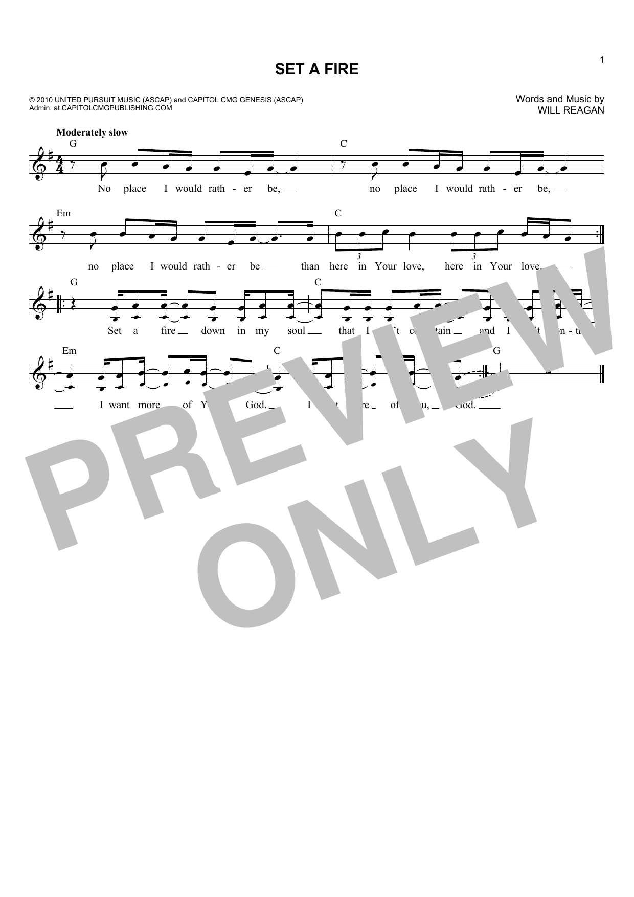 Will Reagan Set A Fire sheet music notes and chords. Download Printable PDF.