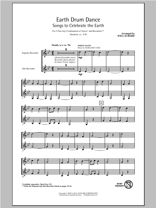 Will Schmid Earth Drum Dance sheet music notes and chords. Download Printable PDF.