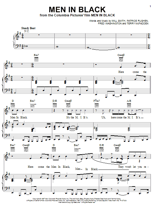 Will Smith Men In Black sheet music notes and chords