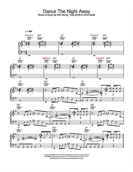 Will Young Dance The Night Away sheet music notes and chords