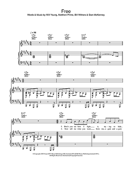 Will Young Free sheet music notes and chords