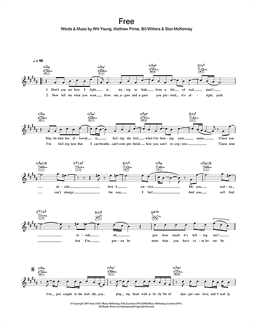 Will Young Free sheet music notes and chords. Download Printable PDF.