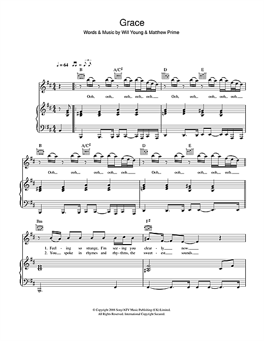 Will Young Grace sheet music notes and chords. Download Printable PDF.