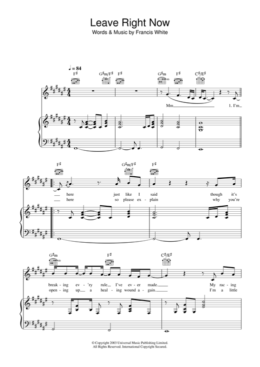 Will Young Leave Right Now sheet music notes and chords. Download Printable PDF.