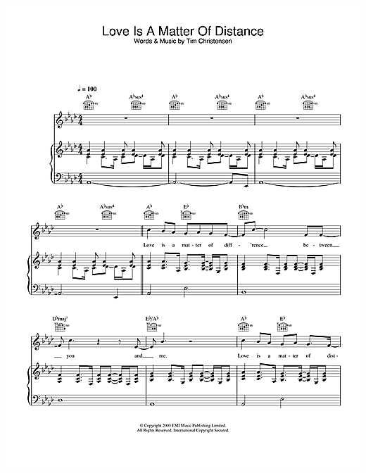 Will Young Love Is A Matter Of Distance sheet music notes and chords