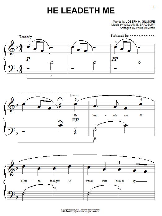 William B. Bradbury He Leadeth Me sheet music notes and chords. Download Printable PDF.