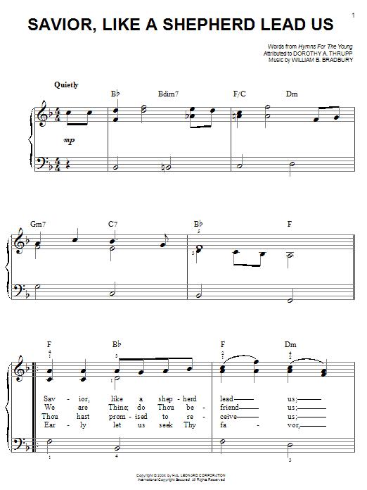 William B. Bradbury Savior, Like A Shepherd Lead Us sheet music notes and chords