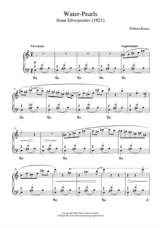 William Baines Water-Pearls (From 'Silverpoints') sheet music notes and chords