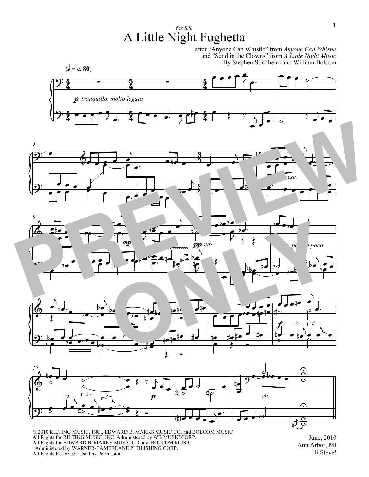 William Bolcom A Little Night Fughetta sheet music notes and chords. Download Printable PDF.