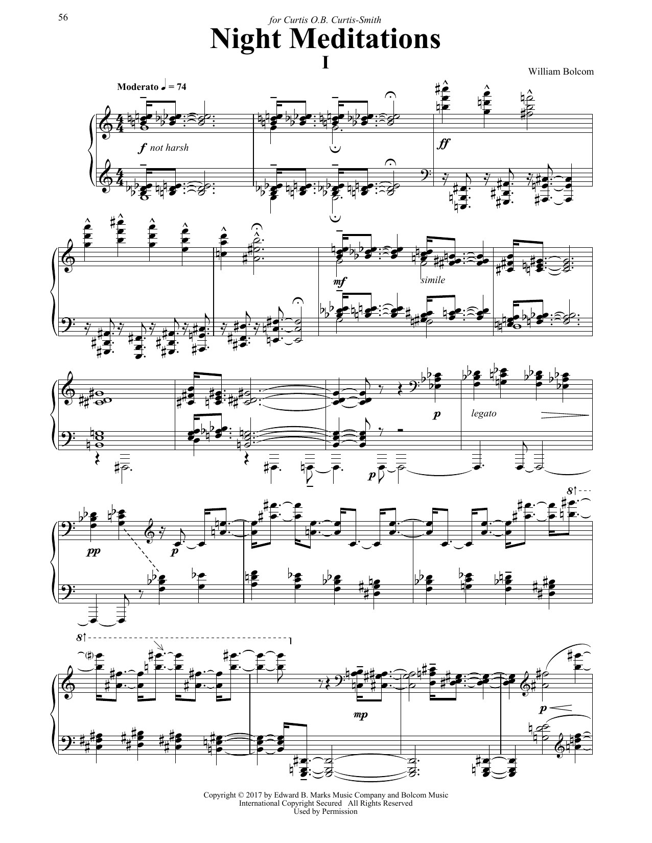 William Bolcom Night Meditations sheet music notes and chords. Download Printable PDF.