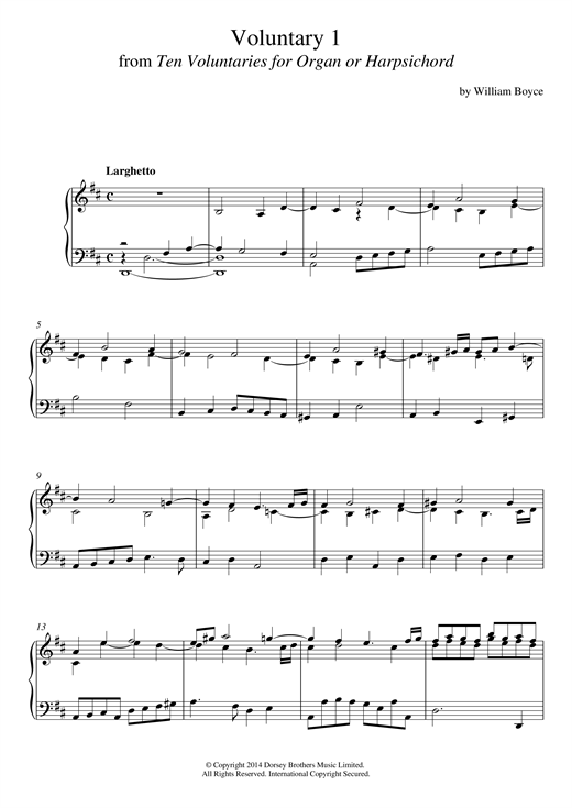 William Boyce Voluntary 1 In D Major From 10 Voluntaries For Harpsichord sheet music notes and chords. Download Printable PDF.