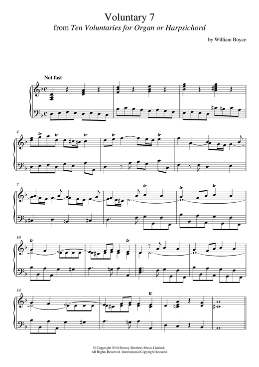William Boyce Voluntary 7 In D Minor From 10 Voluntaries For Harpsichord sheet music notes and chords. Download Printable PDF.