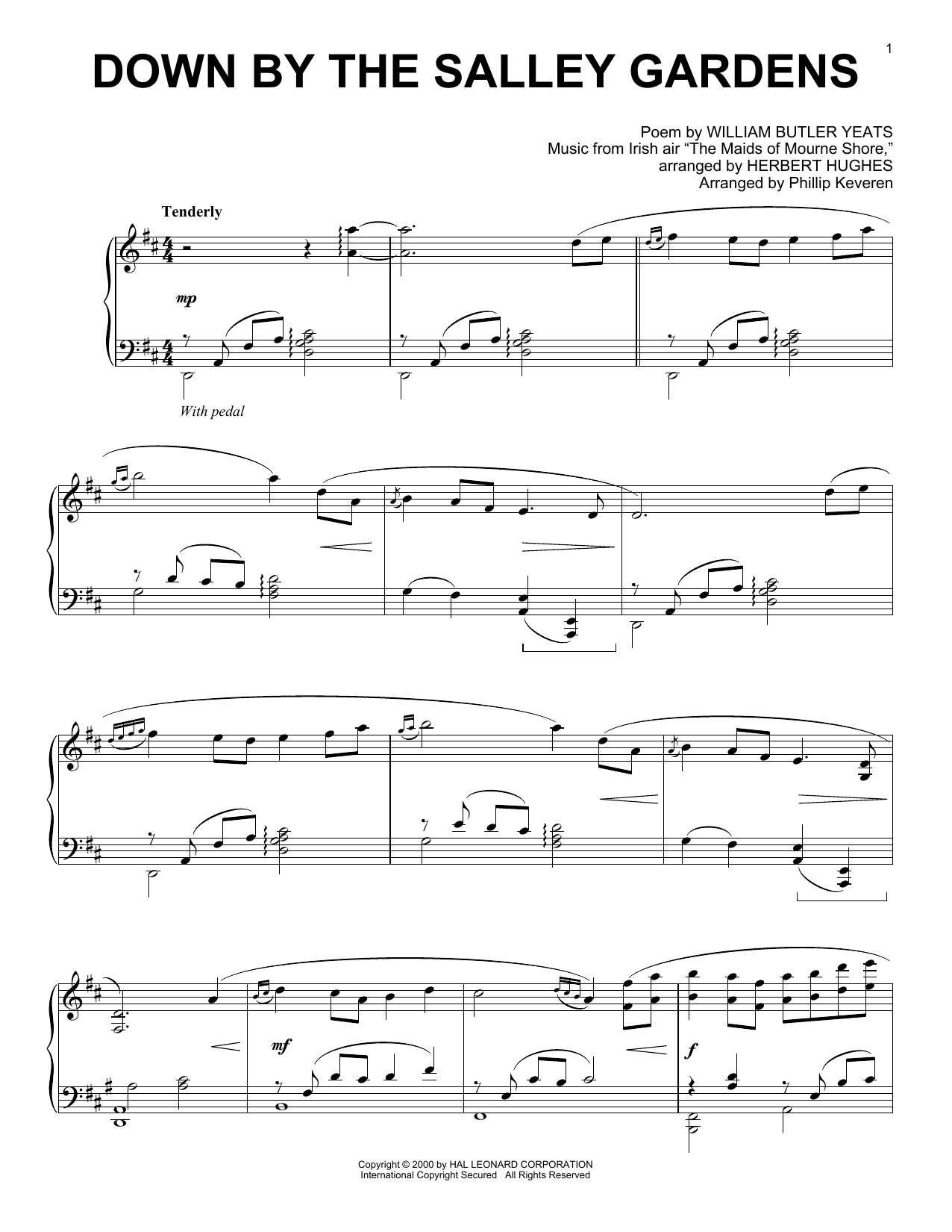 William Butler Yeats Down By The Sally Gardens (arr. Phillip Keveren) sheet music notes and chords