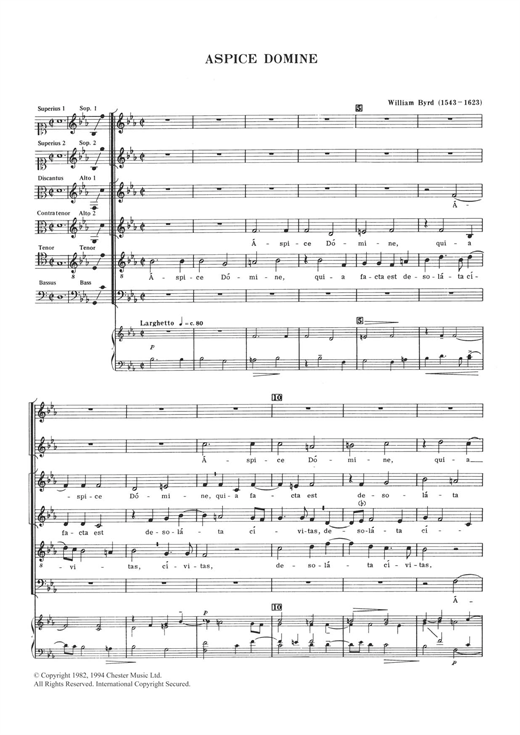 William Byrd Aspice Domine sheet music notes and chords. Download Printable PDF.