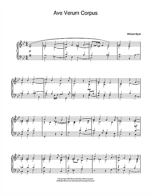 William Byrd Ave Verum Corpus sheet music notes and chords. Download Printable PDF.