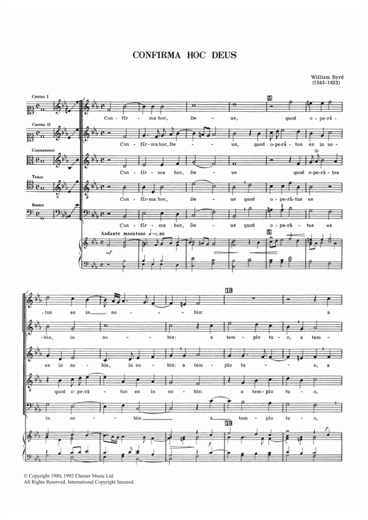 William Byrd Confirma Hoc Deus sheet music notes and chords