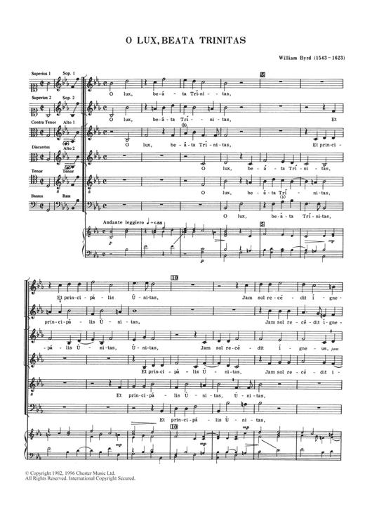 William Byrd O Lux, Beata Trinitas sheet music notes and chords. Download Printable PDF.