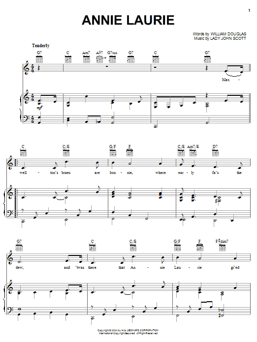 William Douglas Annie Laurie sheet music notes and chords. Download Printable PDF.