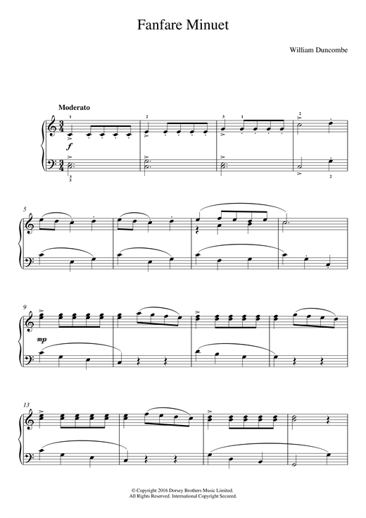 William Duncombe Fanfare Minuet sheet music notes and chords. Download Printable PDF.