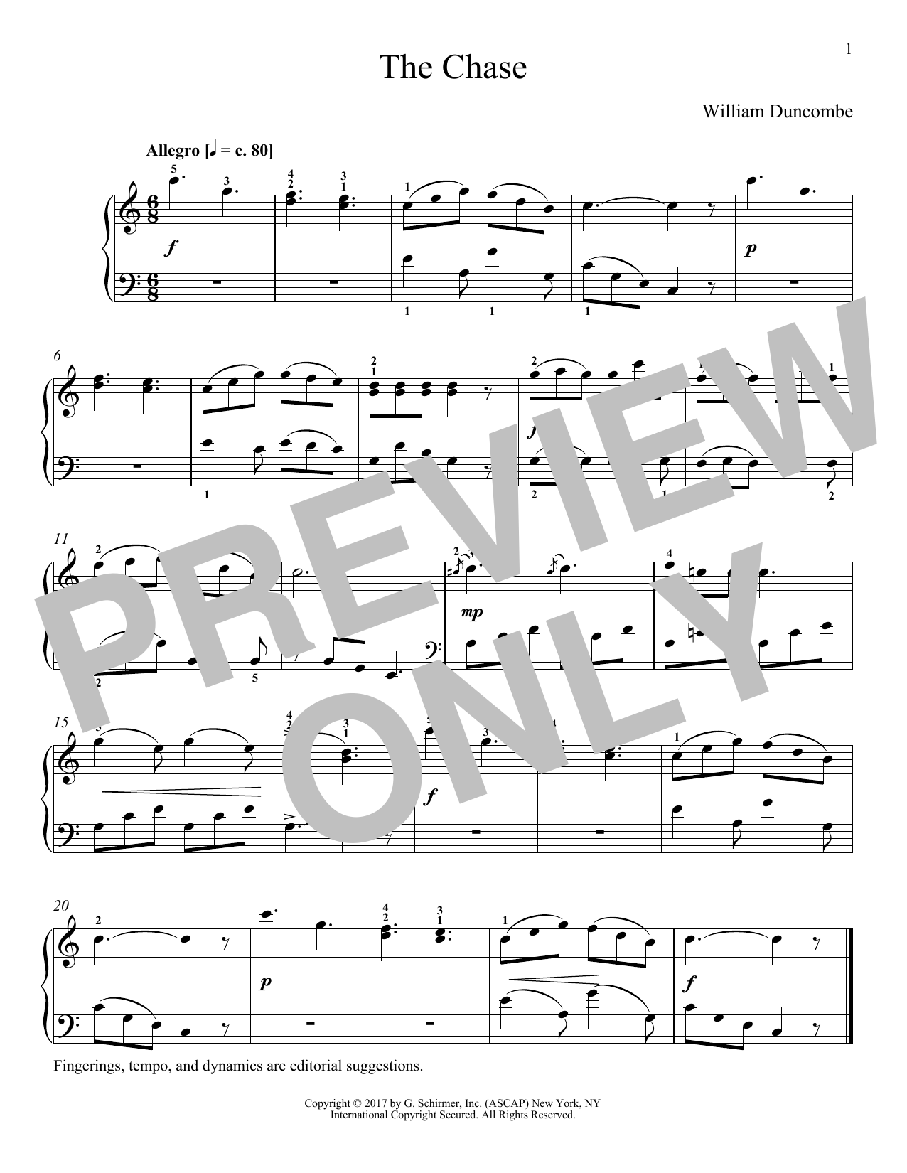 William Duncombe The Chase sheet music notes and chords. Download Printable PDF.