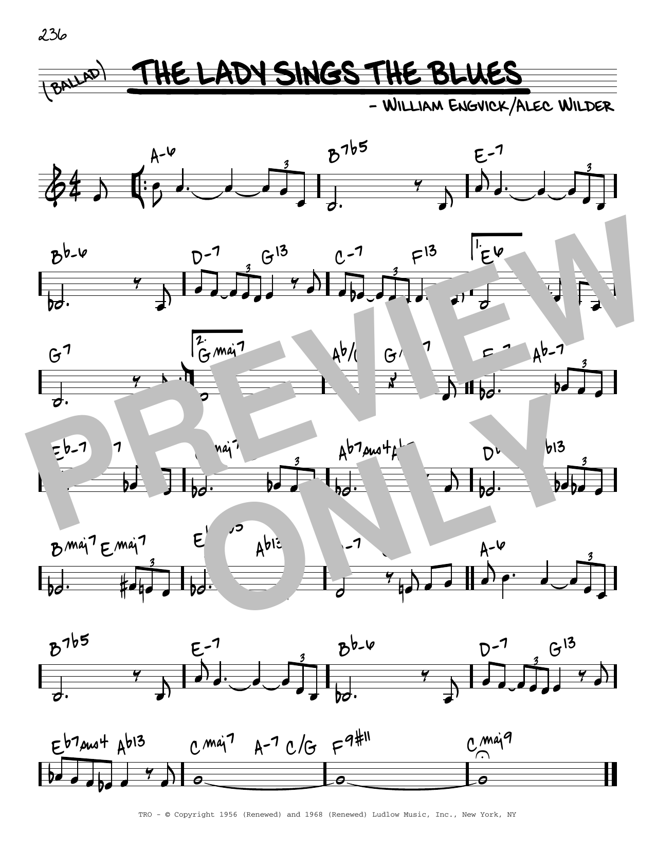 William Engvick The Lady Sings The Blues sheet music notes and chords. Download Printable PDF.