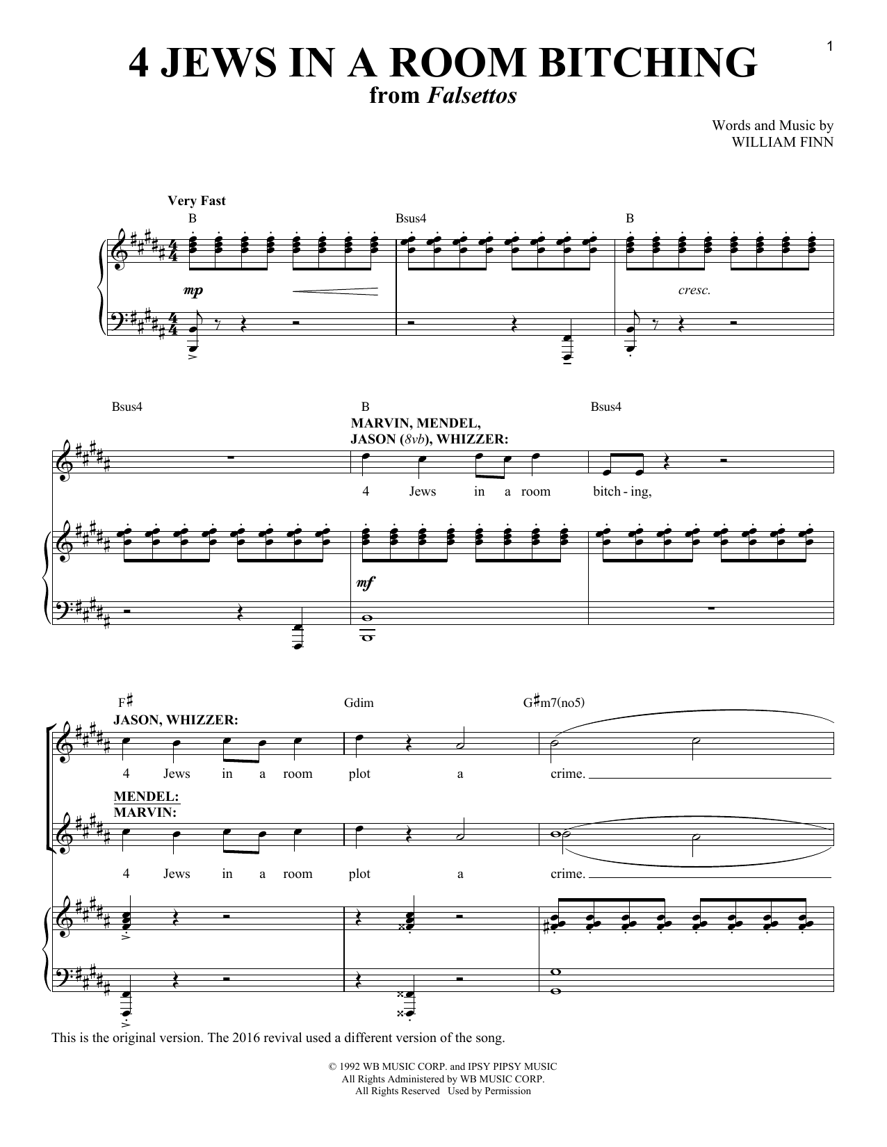 William Finn 4 Jews In A Room Bitching sheet music notes and chords. Download Printable PDF.