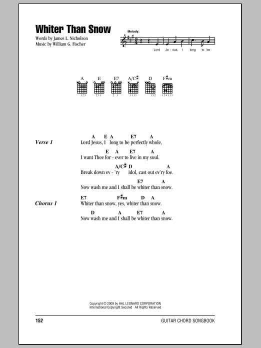 William G. Fischer Whiter Than Snow sheet music notes and chords. Download Printable PDF.