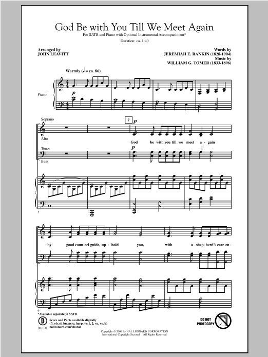 William G. Tomer God Be With You Till We Meet Again (arr. John Leavitt) sheet music notes and chords. Download Printable PDF.