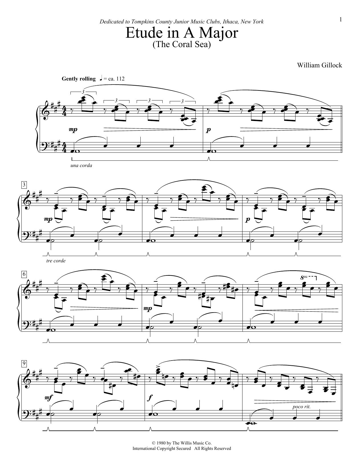 William Gillock Etude In A Major (The Coral Sea) sheet music notes and chords. Download Printable PDF.